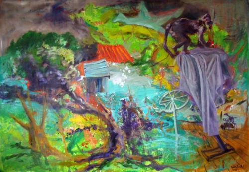 Horizons d'énigme-Oublié n°4, 2016, mixte sur toile, 150 x 200 cm
