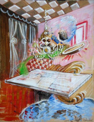 Intérieur en rêve, 2011, mixte sur papier, 32 x 25 cm