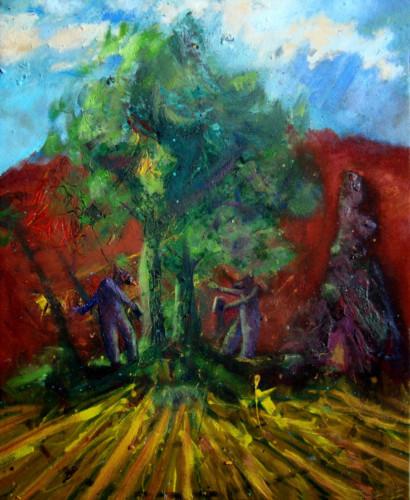 La colline rouge, 2020, mixte su toile, 54 x 44 cm