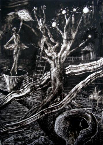 La nuit - la danse, 2017, encre sur plexi, 70 x 50 cm