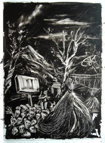 La nuit n°3, 2016, encre sur plexi, 70 x 50 cm