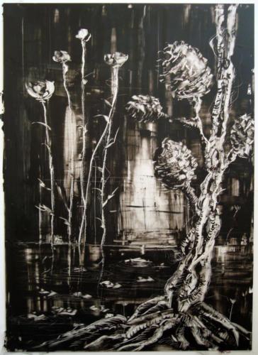La nuit n°4, 2016, encre sur plexi, 70 x 50 cm