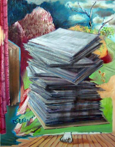 La pile, 2012, mixte sur toile, 90x70 cm