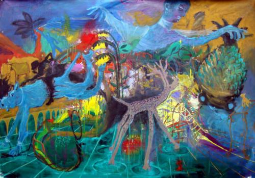 Le grand ordonnateur, 2019, mixte sur toile, 150 x 200 cm