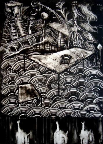 Le masque du chaudronnier, 2017, encre sur plexi, 70 x 50 cm