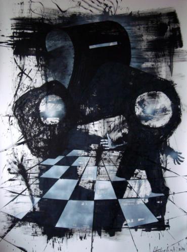 Le masque du chaudronnier n°2, 2017, encre sur papier, 150 x 110 cm