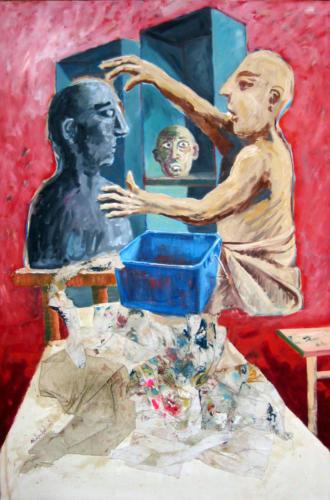 Le-sculpteur-2005-mixte-sur-toile-146x97-cm