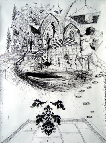 Le trou, 2018, encre sur papier, 150 x 110 cm