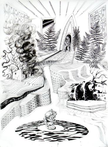 Lear 1, 2009, encre sur papier, 150x100 cm