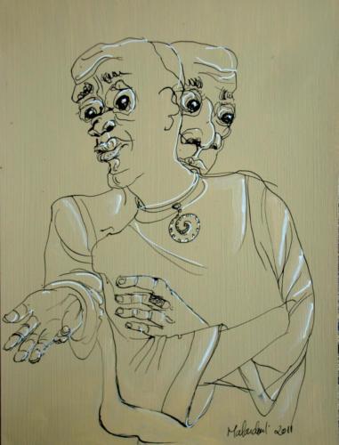 Les savants, 2011, mixte sur papier, 32 x 25 cm