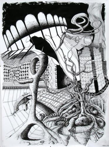 L'oignon bien entendu, 2008, encre sur papier, 150x110 cm
