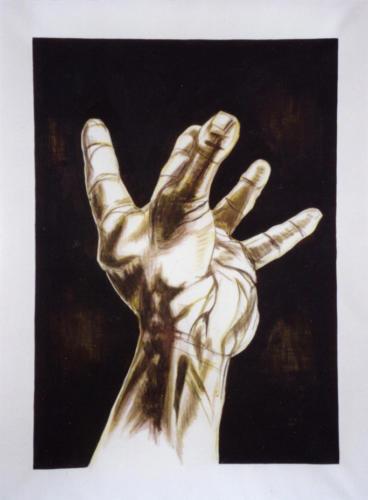 Main dressée, 2002, encre mixte sur toile, 190x140 cm