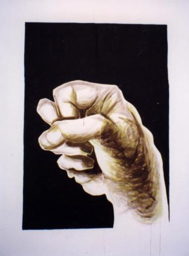 Main fermée, 1999, encre mixte sur toile, 160x125 cm