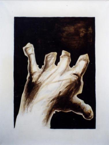Main ou doigts coupés, 1998, encre mixte sur toile, 150x115 cm