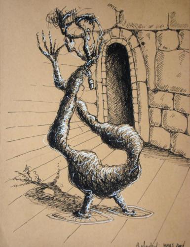 Mandragore, 2006, mixte sur papier, 32 x 25 cm