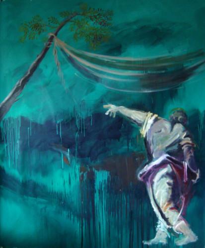 Mort de la peur, 2020, mixte sur toile, 180 x 160 cm