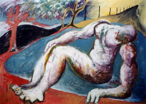 Narcisse, 1998, mixte sur toile, 130x180 cm