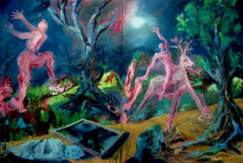 Nocturne, 2017, mixte sur toiles, 130 x 200 cm