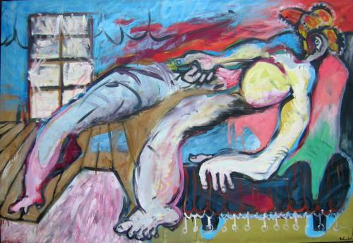 Nu flottan, 1998, mixte sur toile, 130x180 cm