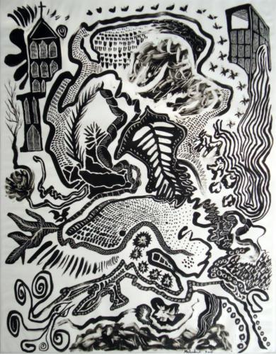 Organisme n°1, 2015, encre sur transparent, 65 x 50 cm