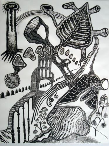 Organisme n°2, 2015, encre sur transparent, 65 x 50 cm