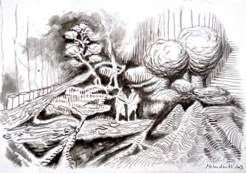 Paysage, 2009, lavis et crayon sur papier, 26x37 cm