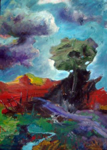 Paysage, 2012, huile sur isorel, 50x70 cm