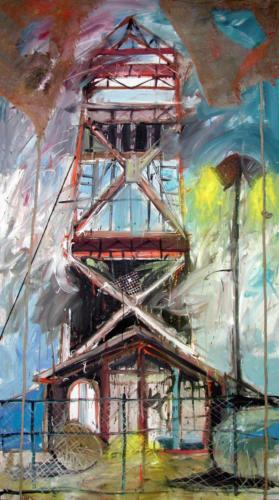 Paysage à la tour, 2003, sur toile, 240x120 cm