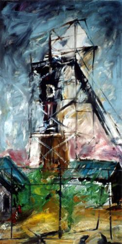 Paysage à la tour n°2, 2003, mixte sur toile, 240x120 cm