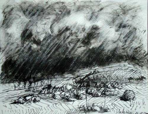 Paysage d'orage, 2000, mixte sur papier, 20 x 25 cm