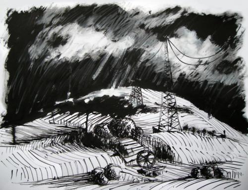 Paysage d'orage, 2008, encre sur papier, 50x65 cm