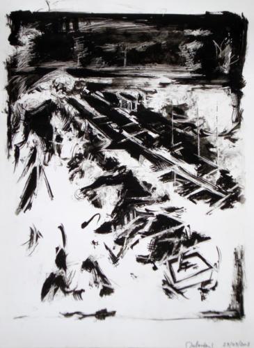 Paysage ferroviaire, 2008, encre sur papier, 42x30 cm