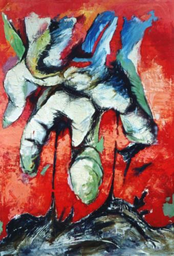 Paysage-main, 2003, mixte sur toile, 208 x 149 cm