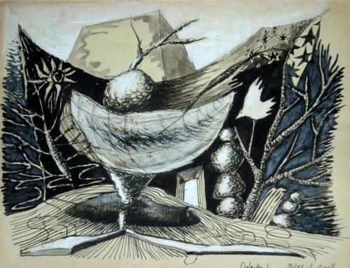 Paysage-sculpture, 2007, mixte sur papier, 25 x 32 cm