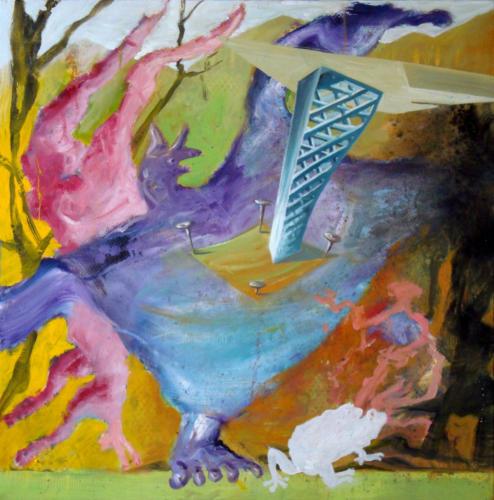 Peau animée, 2016, mixte sur toile, 80 x 80 cm