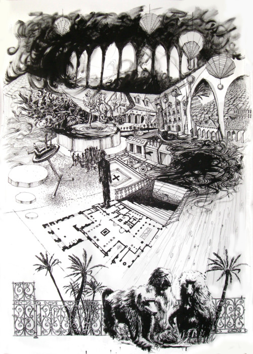 Déploiement ◦ Consignes, 2008, encre sur papier, 150 x 110 cm