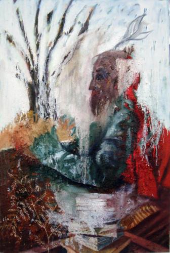 Personnage, 2013, mixte sur toile, 147x97 cm