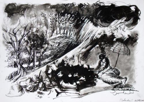 Personnage dans un paysage, 2008, encre sur papier, 30x42 cm