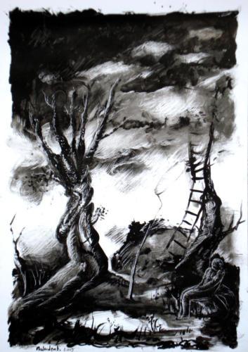 Personnage dans un paysage, 2009, encre sur papier, 42x30 cm