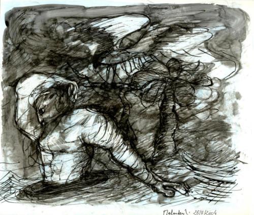 Personnage dans un trou, 2005, encre sur papier, 21x25 cm
