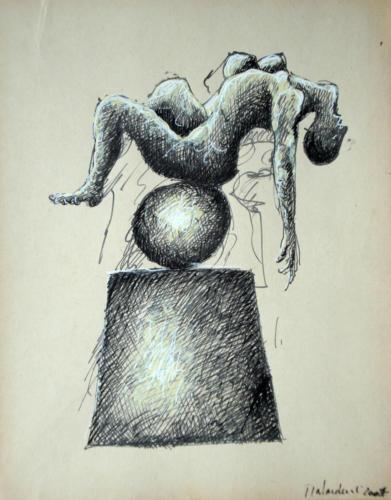 Personnage en équilibre, 2007, mixte sur papier, 32 x 25 cm