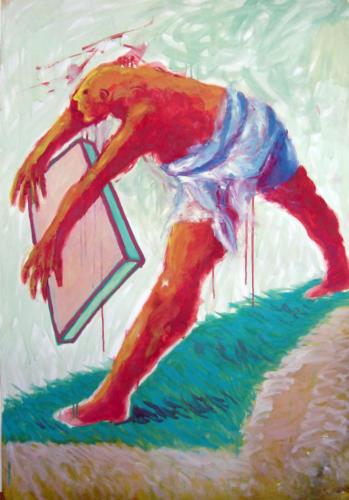 Personnage et cadre, 2006, huile sur papier, 100 x 70 cm