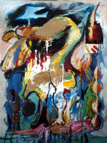 Personnage et oiseau, 2003, technique mixte sur toile, 210x150 cm