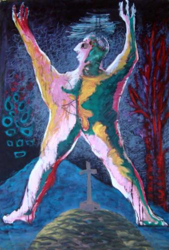 Personnage les bras en l'air, 2006, huile sur papier, 100 x 70 cm