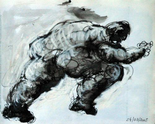 Personnage qui court, 2005, mixte sur papier, 30x22 cm