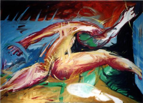 Personnage traversant une surface, 2003, mixte sur toile, 100x150 cm