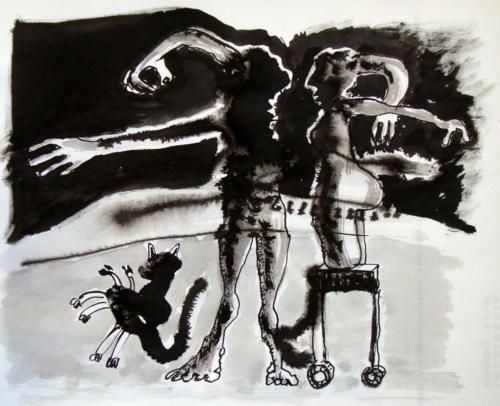 Personnages et 1 chat encre sur papier 20 x 30 cm