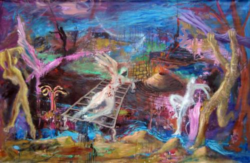 Peuplé de fantômes, 2019, mixte sur toile, 130 x 195 cm