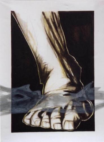 Pied dans une brume, 2002, encre mixte sur toile, 190x140 cm
