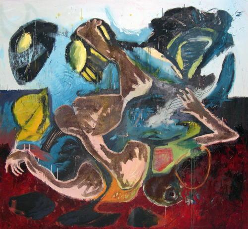 Plongeur, 2003, mixte sur toile, 200x220 cm